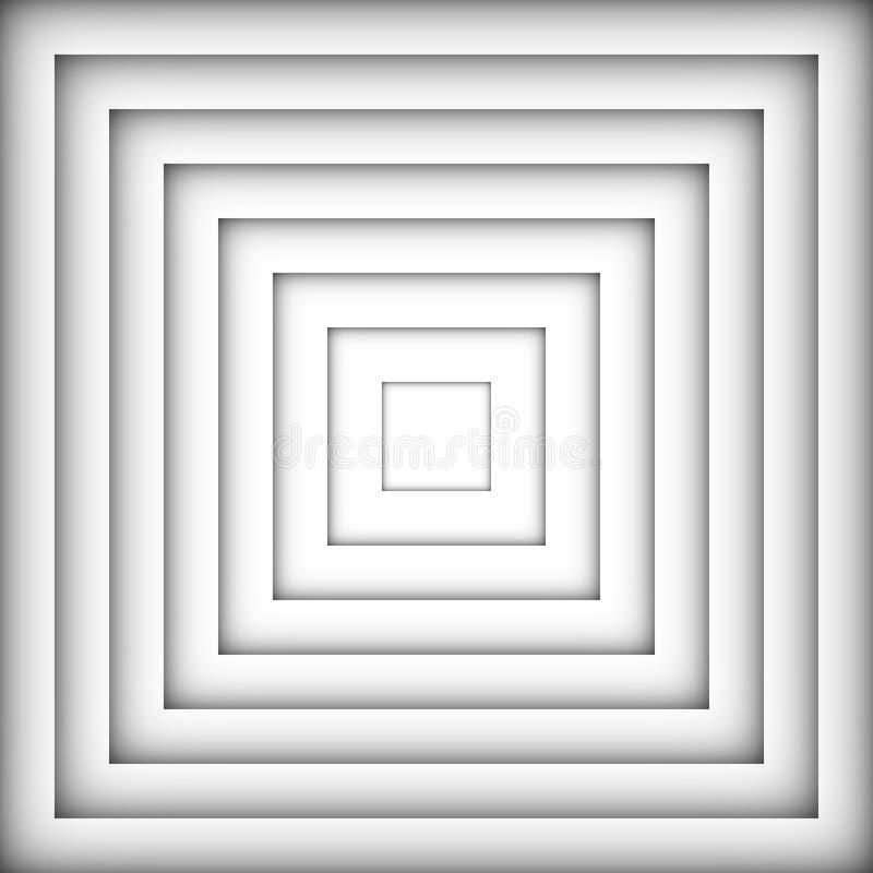 Αφηρημένη άσπρη και μαύρη τετραγωνική μορφή χρώματος διανυσματική απεικόνιση
