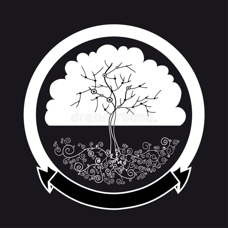 Αφηρημένη άσπρη σκιαγραφία δέντρων απεικόνιση αποθεμάτων