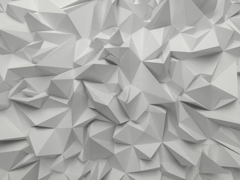 Αφηρημένη άσπρη τρισδιάστατη εδροτομημένη πολύτιμους λίθους ανασκόπηση απεικόνιση αποθεμάτων