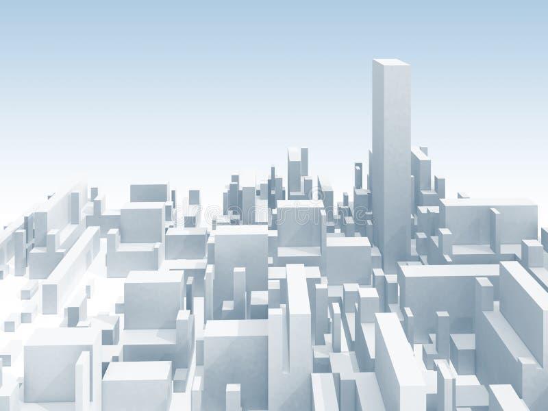 Αφηρημένη άσπρη τρισδιάστατη απεικόνιση οριζόντων εικονικής παράστασης πόλης διανυσματική απεικόνιση