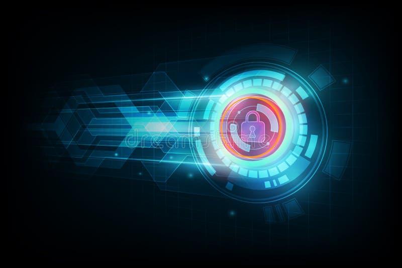 Αφηρημένη έννοια ασφαλείας δεδομένων και φουτουριστικό ηλεκτρονικό techno διανυσματική απεικόνιση
