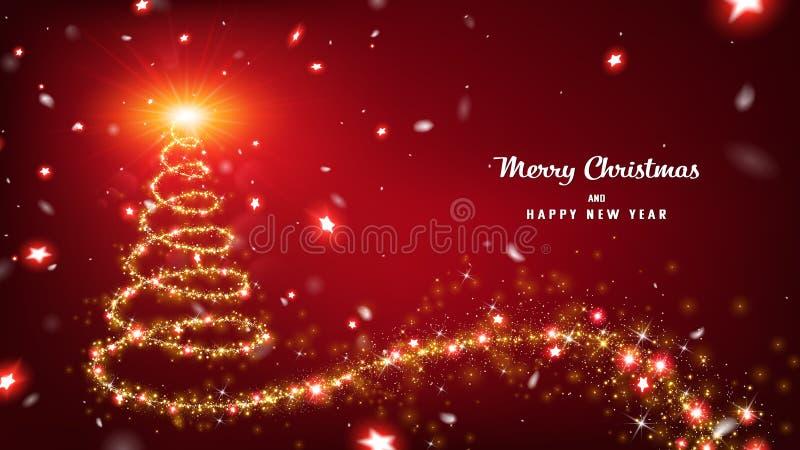 Αφηρημένη αίσθηση μαγείας του χριστουγεννιάτικου δέντρου διανυσματική απεικόνιση
