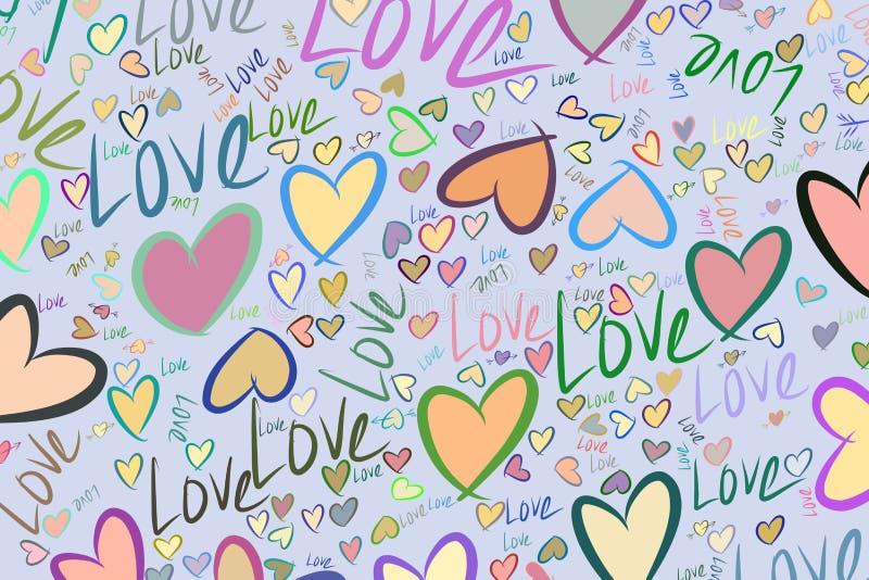 Αφηρημένη αγάπη υποβάθρου για την ημέρα βαλεντίνων, εορτασμοί ή επέτειος, χέρι που σύρεται για το σχέδιο, γραφικός πόρος διανυσματική απεικόνιση