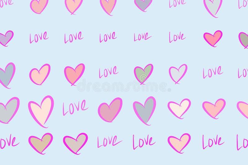 Αφηρημένη αγάπη υποβάθρου για την ημέρα βαλεντίνων, εορτασμοί ή επέτειος, χέρι που σύρεται για το σχέδιο, γραφικός πόρος απεικόνιση αποθεμάτων