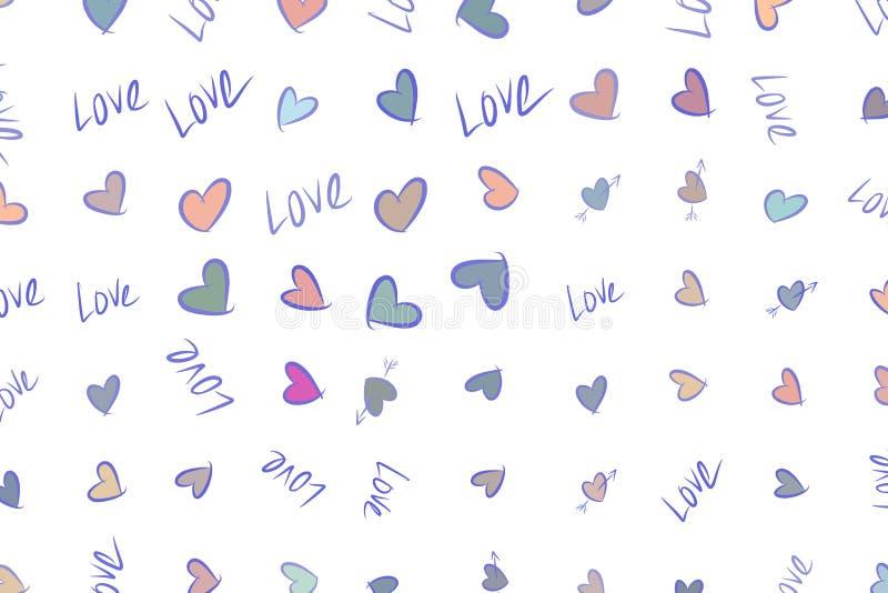 Αφηρημένη αγάπη υποβάθρου για την ημέρα βαλεντίνων, εορτασμοί ή επέτειος, χέρι που σύρεται για το σχέδιο, γραφικός πόρος ελεύθερη απεικόνιση δικαιώματος