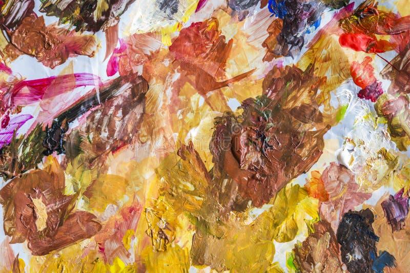 Αφηρημένη ακρυλική παλέτα χρωμάτων του ζωηρόχρωμου, χρώματος μιγμάτων, backgroun στοκ φωτογραφίες