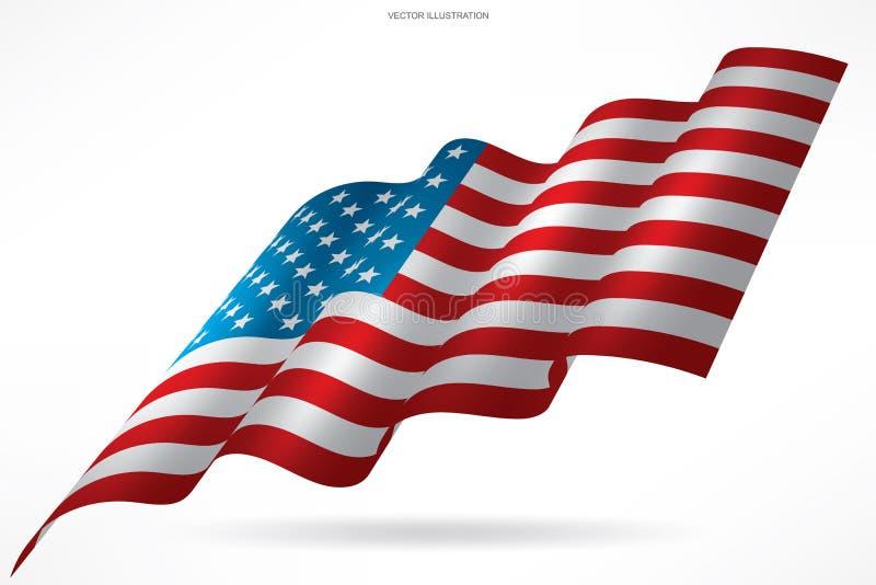 Αφηρημένη αμερικανική σημαία στο άσπρο υπόβαθρο διάνυσμα διανυσματική απεικόνιση