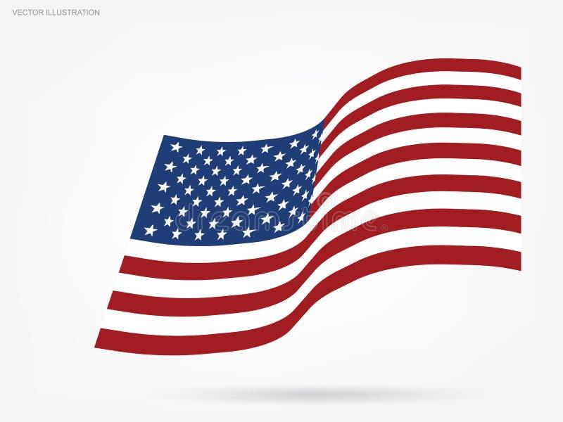 Αφηρημένη αμερικανική σημαία στο άσπρο υπόβαθρο διάνυσμα ελεύθερη απεικόνιση δικαιώματος