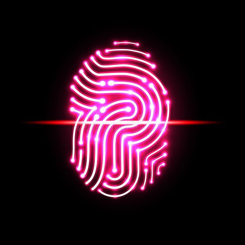 Αφηρημένη ανίχνευση δακτυλικών αποτυπωμάτων γράμμα π προσδιορισμός και ασφάλεια διανυσματική απεικόνιση