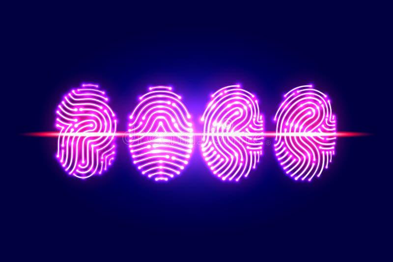Αφηρημένη ανίχνευση δακτυλικών αποτυπωμάτων Πέρασμα με το δακτυλικό αποτύπωμα προσδιορισμός διανυσματική απεικόνιση
