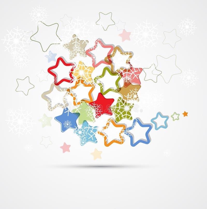 Αφηρημένη αναδρομική ανασκόπηση Χριστουγέννων με τα αστέρια ελεύθερη απεικόνιση δικαιώματος