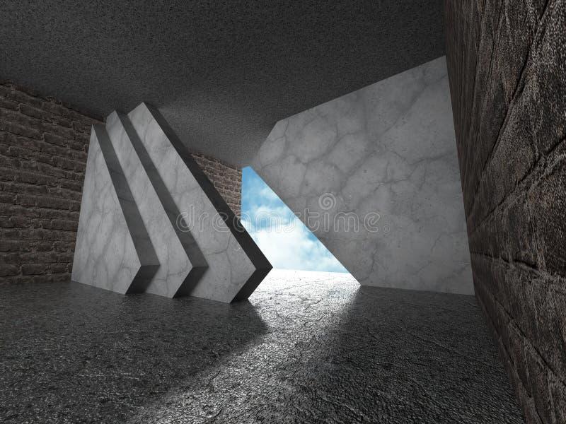 αφηρημένη ανασκόπηση αρχιτεκτονικής δωμάτιο συμπαγών τοίχων με τον ουρανό W ελεύθερη απεικόνιση δικαιώματος