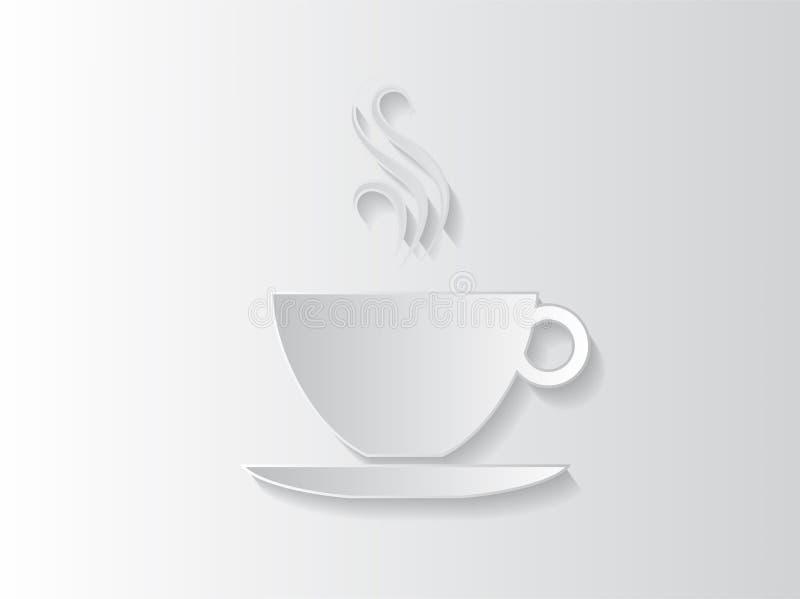 Αφηρημένη ανασκόπηση αυτοκόλλητων ετικεττών με ένα φλυτζάνι καφέ ελεύθερη απεικόνιση δικαιώματος