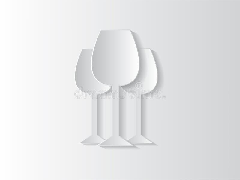 Αφηρημένη ανασκόπηση αυτοκόλλητων ετικεττών με τα γυαλιά κρασιού διανυσματική απεικόνιση