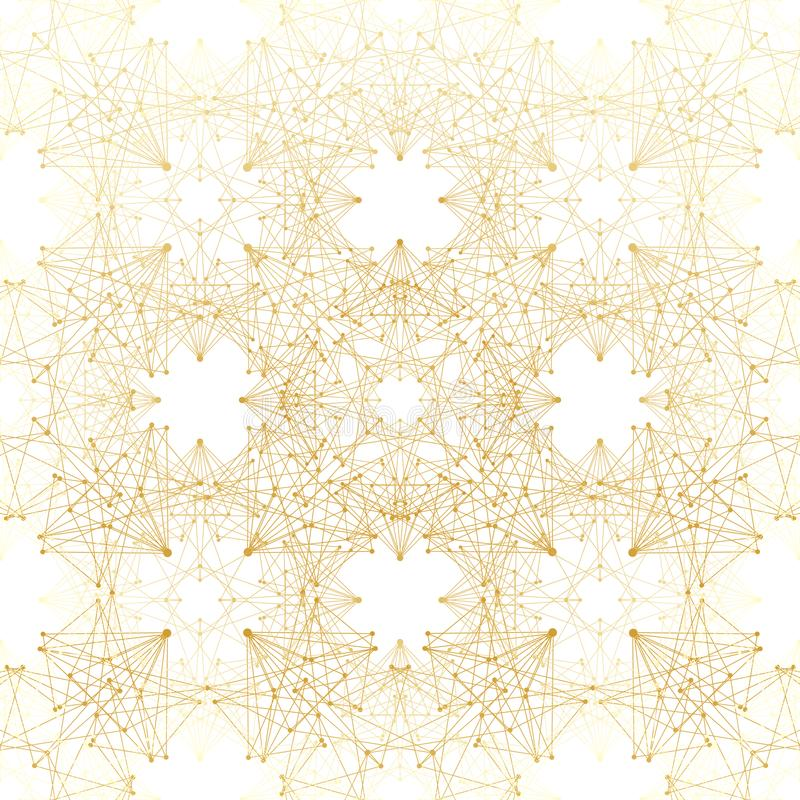 αφηρημένη ανασκόπηση γεωμ&epsil Συνδεδεμένα γραμμή και σημεία Γραμμικό χρυσό πλέγμα με τους κύκλους στους κόμβους Reticulated χρυ απεικόνιση αποθεμάτων