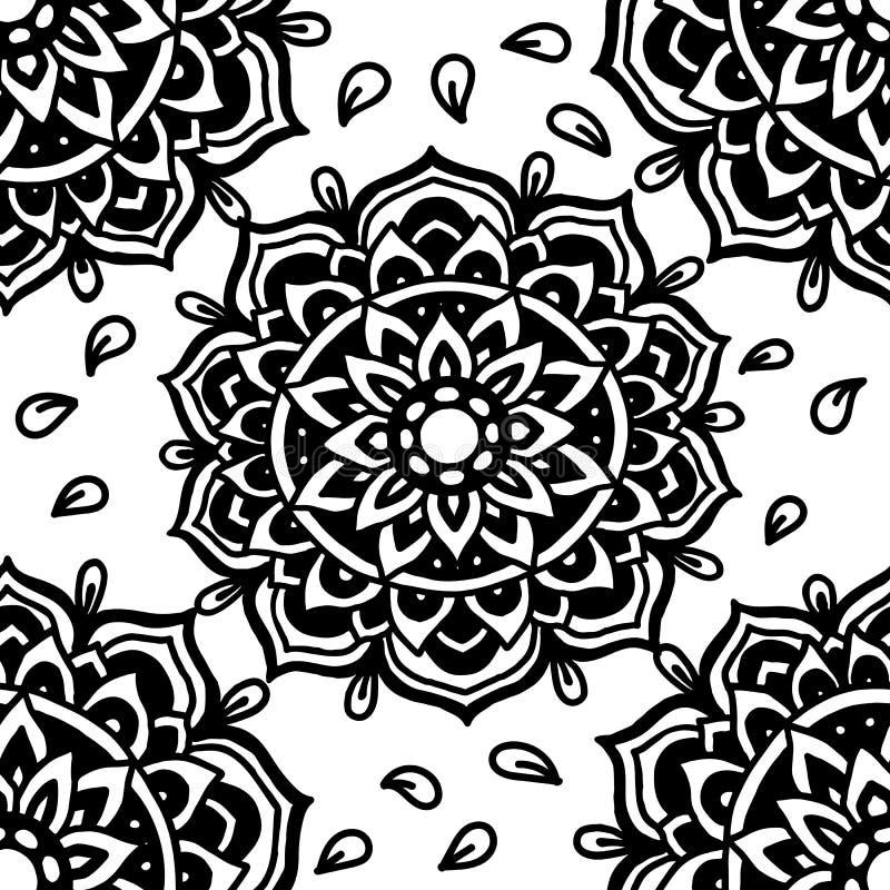 αφηρημένη ανασκόπηση επίσης corel σύρετε το διάνυσμα απεικόνισης Εθνικό μονοχρωματικό άνευ ραφής σχέδιο mandala ινδική διακόσμηση απεικόνιση αποθεμάτων