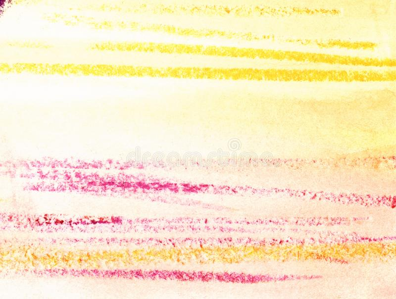 αφηρημένη ανασκόπηση ζωηρόχρωμη Τα ρόδινα, κίτρινα λωρίδες εξόρμησης σε ένα φως τόνισαν με το κατασκευασμένο έγγραφο watercolor σ απεικόνιση αποθεμάτων