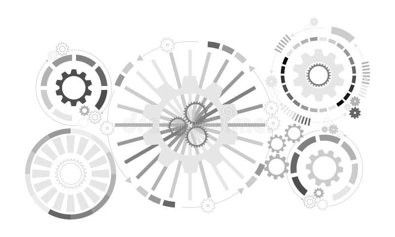 αφηρημένη ανασκόπηση φουτουριστική Διανυσματική ρόδα εργαλείων απεικόνισης, hexagons και πίνακας κυκλωμάτων, διανυσματική απεικόνιση
