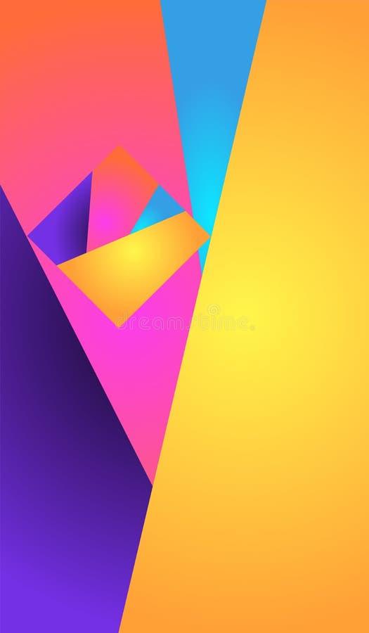 αφηρημένη ανασκόπηση φωτεινή Γεωμετρική σύνθεση με το μικρό ζωηρόχρωμο τετράγωνο από τα στοιχεία κλίσης στη μεγάλη μορφή ορθογωνί διανυσματική απεικόνιση