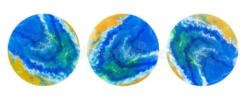 Αφηρημένη απεικόνιση, εικόνα τέχνης ρητίνης Ρευστή ακρυλική τέχνη Αφηρημένοι μπλε χρυσοί λεκέδες διανυσματική απεικόνιση