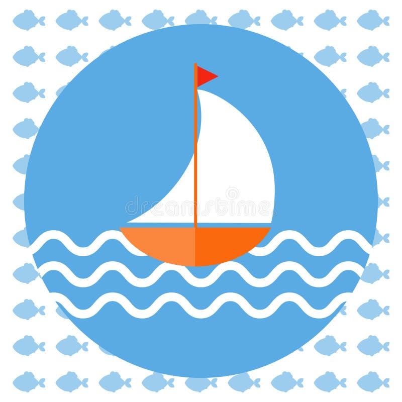 Αφηρημένη απεικόνιση με μια βάρκα στο μπλε νερό διανυσματική απεικόνιση