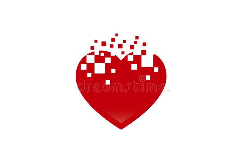 Αφηρημένη απεικόνιση σχεδίου συμβόλων εικονοκυττάρου αγάπης λογότυπων μορφής καρδιών διανυσματική απεικόνιση