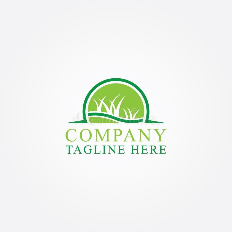 Αφηρημένη απεικόνιση του πράσινου διανυσματικού λογότυπου εικονιδίων χλόης διανυσματική απεικόνιση