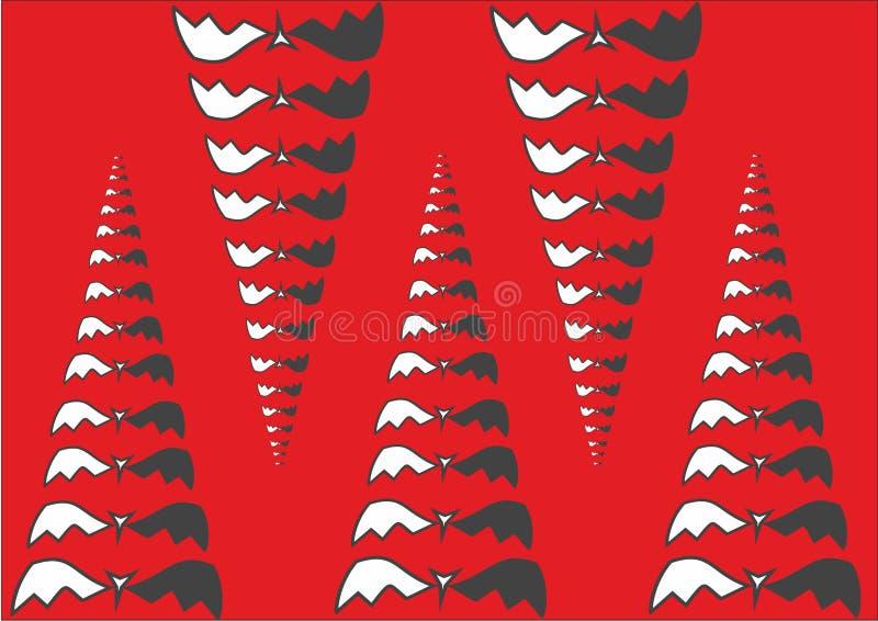 Αφηρημένη απεικόνιση των πυραμίδων, των κώνων ή των κυνοδόντων από το ρόπαλο Κόκκινη ανασκόπηση ημερολογιακής έννοιας ημερομηνίας διανυσματική απεικόνιση