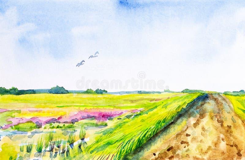 Αφηρημένη απεικόνιση Watercolor ενός ρωσικού τομέα με ένα δάσος στο υπόβαθρο Πέρα από τα πετώντας πουλιά τομέων διανυσματική απεικόνιση