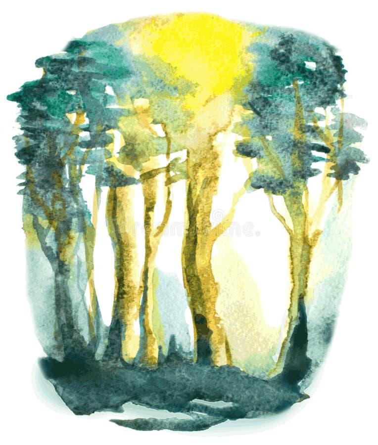 Αφηρημένη απεικόνιση Watercolor με τα δασικά δέντρα ελεύθερη απεικόνιση δικαιώματος