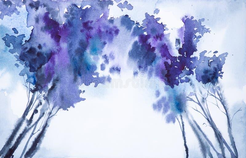 Αφηρημένη απεικόνιση watercolor μιας άποψης χειμερινών δασικής κατώτατων σημείων των κορυφών δέντρων διανυσματική απεικόνιση