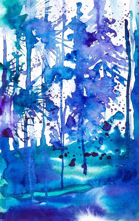 Αφηρημένη απεικόνιση watercolor του μπλε δάσους που περιβάλλεται από τις πτώσεις των λεκέδων μελανιού ελεύθερη απεικόνιση δικαιώματος