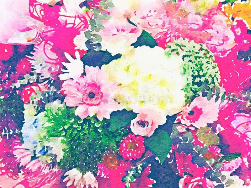 Αφηρημένη απεικόνιση watercolor των ανθοδεσμών λουλουδιών απεικόνιση αποθεμάτων