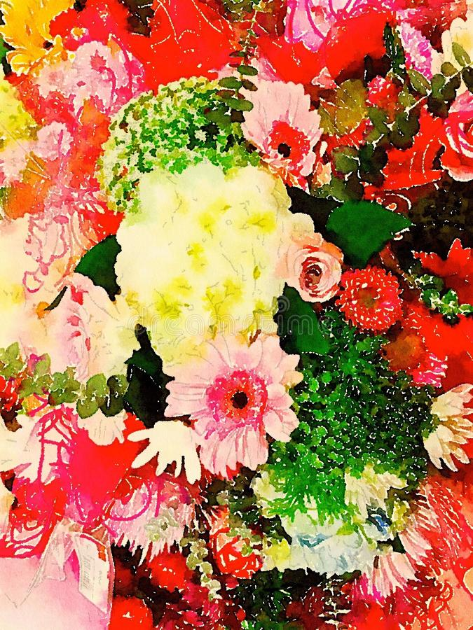 Αφηρημένη απεικόνιση watercolor των ανθοδεσμών λουλουδιών διανυσματική απεικόνιση