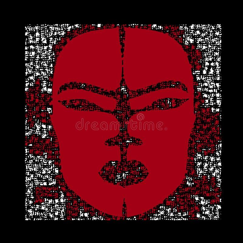 Αφηρημένη αφρικανική μάσκα με τα μωσαϊκά και τις διακοσμήσεις Αποκριές κομψές απεικόνιση αποθεμάτων
