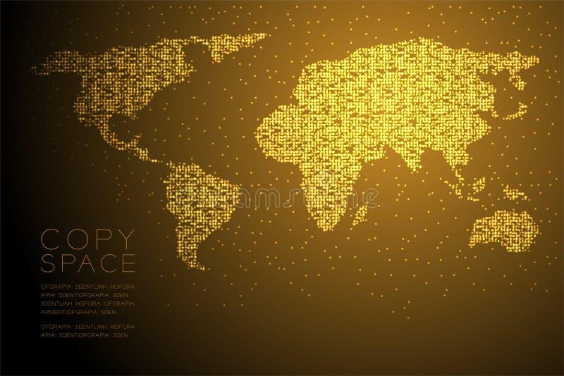 Αφηρημένη γεωμετρική έγχρωμη εικονογράφηση σχεδίου έννοιας μορφής παγκόσμιων χαρτών σχεδίων εικονοκυττάρου σημείων κύκλων Bokeh χ διανυσματική απεικόνιση