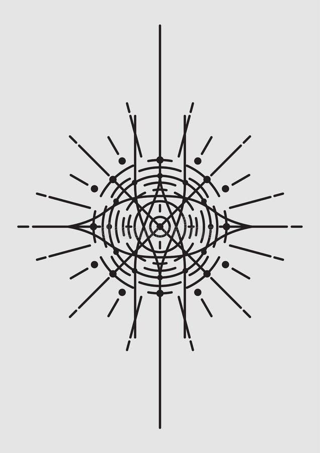 Αφηρημένη γεωμετρική διανυσματική απεικόνιση, Mandala, Dreamcatcher απεικόνιση αποθεμάτων