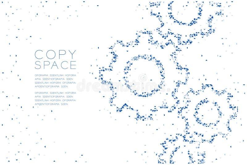 Αφηρημένη γεωμετρική μορφή εργαλείων εφαρμοσμένης μηχανικής σχεδίων κιβωτίων και τριγώνων πολυγώνων τετραγωνική, μπλε illus χρώμα ελεύθερη απεικόνιση δικαιώματος