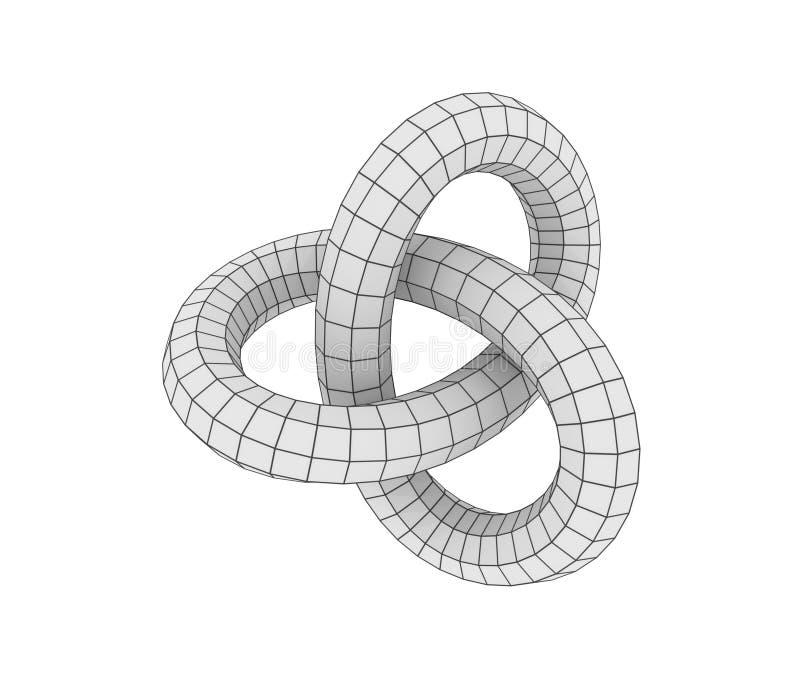 Αφηρημένη γεωμετρική μορφή με trefoil τον κόμβο διανυσματική απεικόνιση