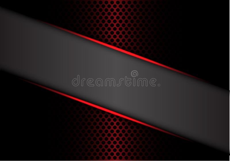 Αφηρημένη γκρίζα κόκκινη μεταλλική γραμμή εμβλημάτων στο σκοτεινό μετάλλων κύκλων πλέγματος σχεδίου σύγχρονο διάνυσμα υποβάθρου π διανυσματική απεικόνιση