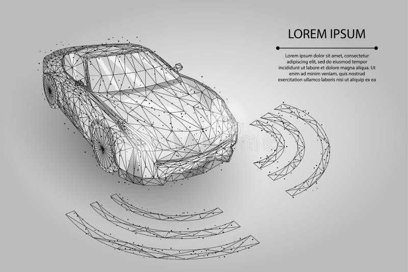 Αφηρημένη γραμμή πολτοποίησης και αυτοκίνητο κινήσεων υψηλής ταχύτητας σημείου έννοια αυτοματοποίησης οδηγών αυτόματων πιλότων απεικόνιση αποθεμάτων