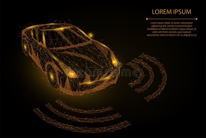 Αφηρημένη γραμμή πολτοποίησης και αυτοκίνητο κινήσεων υψηλής ταχύτητας σημείου έννοια αυτοματοποίησης οδηγών αυτόματων πιλότων διανυσματική απεικόνιση