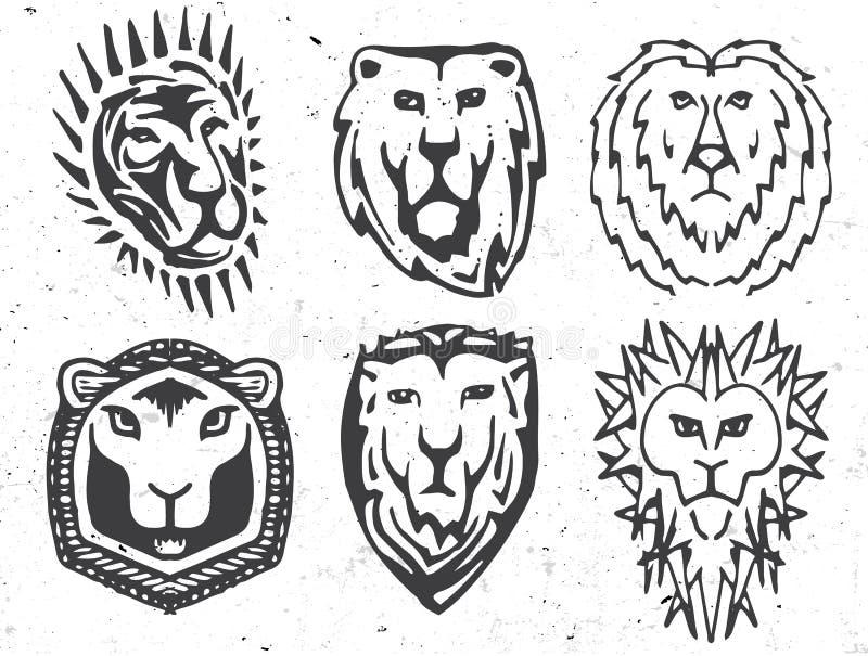αφηρημένη γραπτή κάλυψη χρώματος των όπλων με τα λογότυπα εικόνας λιονταριών καθορισμένα, μεσαιωνική συλλογή ασπίδων logotypes απεικόνιση αποθεμάτων