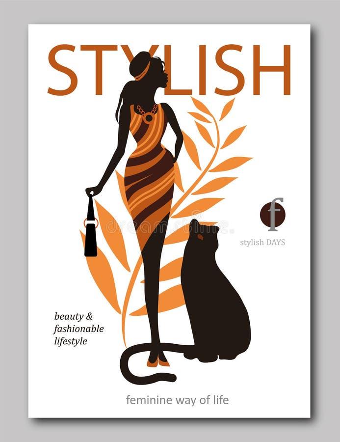 Αφηρημένη γυναίκα με την τσάντα και μεγάλη γάτα panter στο εθνικό ύφος Σχέδιο κάλυψης περιοδικών μόδας για την περίοδο καλοκαιριν διανυσματική απεικόνιση