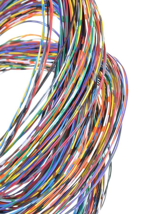 Αφηρημένη δέσμη των χρωματισμένων καλωδίων στροβίλου στοκ φωτογραφία