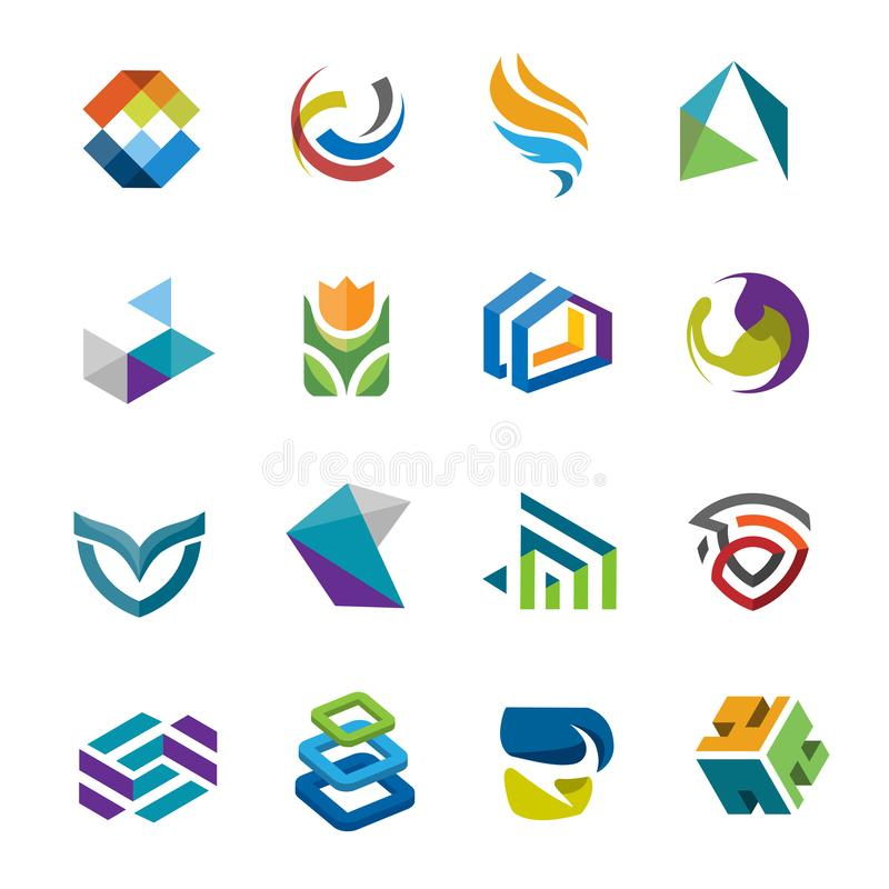 Αφηρημένη δημιουργική σύγχρονη διανυσματική συλλογή λογότυπων ελεύθερη απεικόνιση δικαιώματος