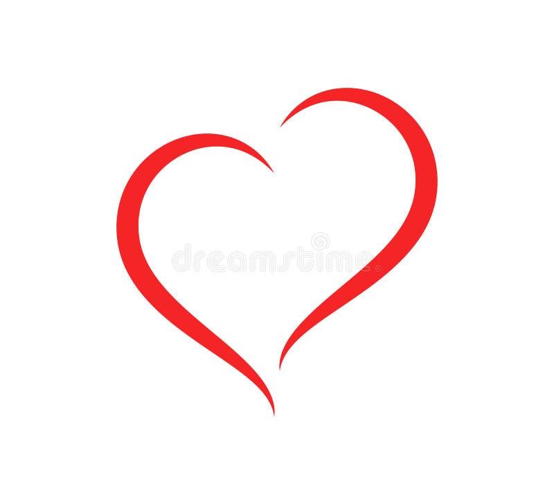 Αφηρημένη διανυσματική απεικόνιση προσοχής περιλήψεων μορφής καρδιών Κόκκινο εικονίδιο καρδιών στο επίπεδο ύφος ελεύθερη απεικόνιση δικαιώματος