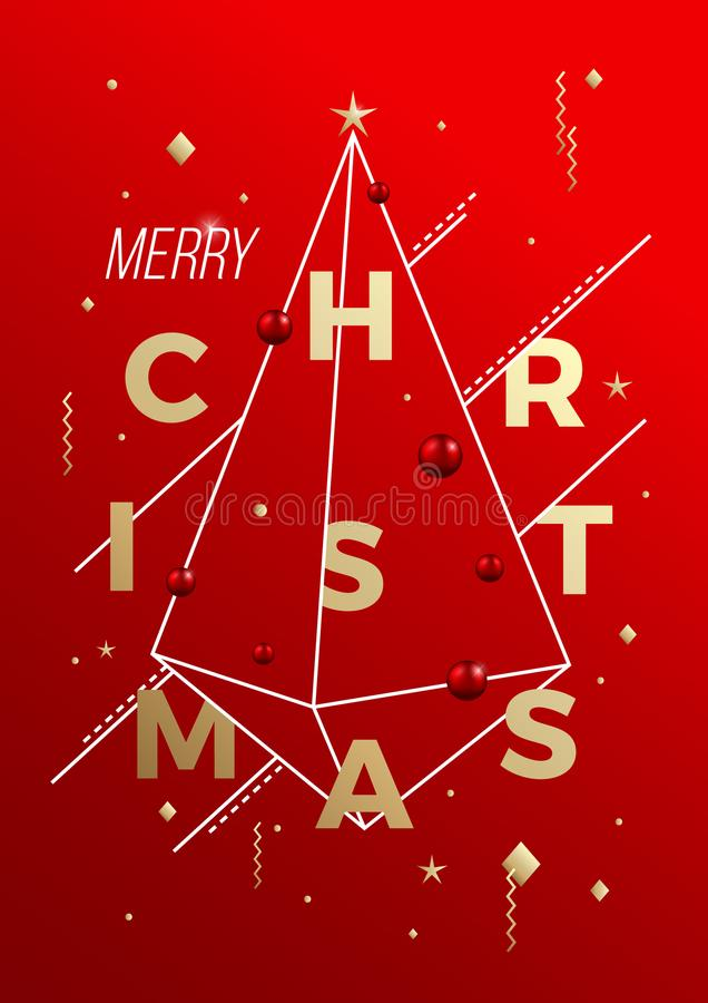 Αφηρημένη διανυσματική αφίσα, κάρτα ή υπόβαθρο γεωμετρίας Minimalistic Χαρούμενα Χριστούγεννας Αριστοκρατικά κόκκινα και χρυσά χρ ελεύθερη απεικόνιση δικαιώματος