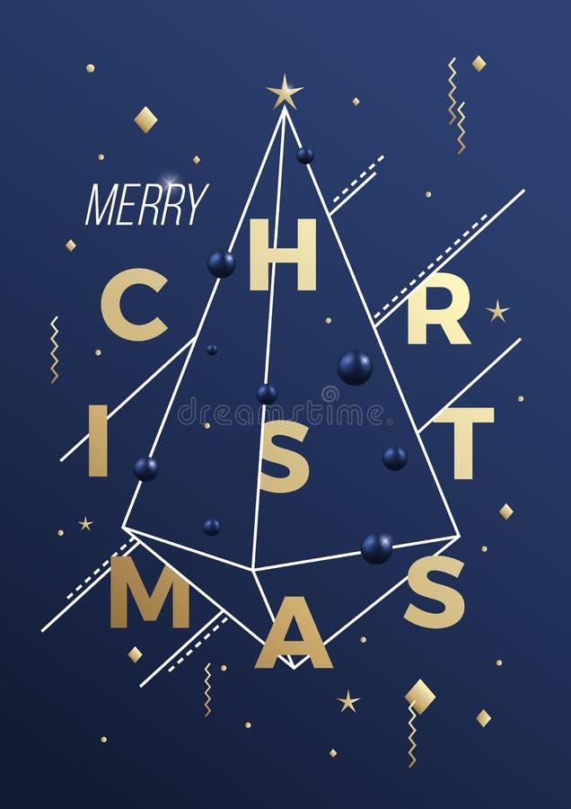 Αφηρημένη διανυσματική αφίσα, κάρτα ή υπόβαθρο γεωμετρίας Minimalistic Χαρούμενα Χριστούγεννας Αριστοκρατικά μπλε και χρυσά χρώμα απεικόνιση αποθεμάτων