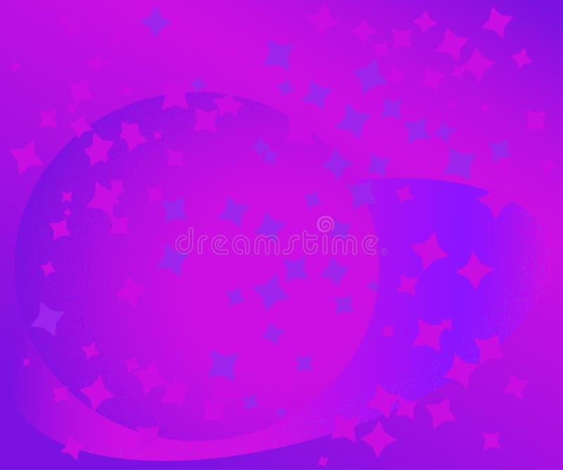 Αφηρημένη διανυσματική σύσταση με τα αστέρια και τις σφαίρες στο ιώδες υπόβαθρο ελεύθερη απεικόνιση δικαιώματος